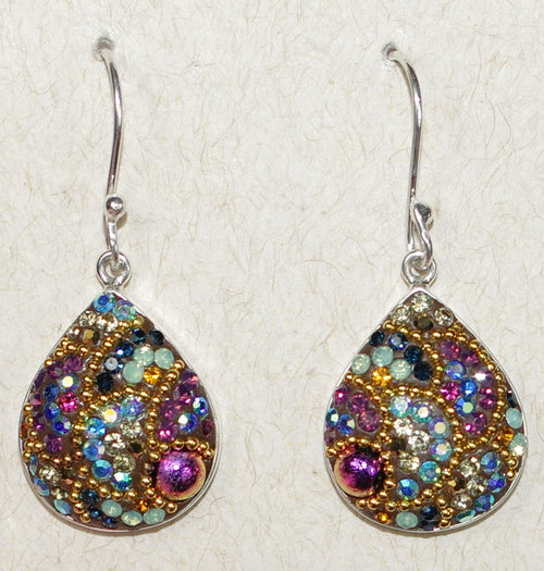 "MOSAICO EARRINGS PE-8182-K: multi color Austrians crystals in 3/4"" solid silver setting, french wire backs"