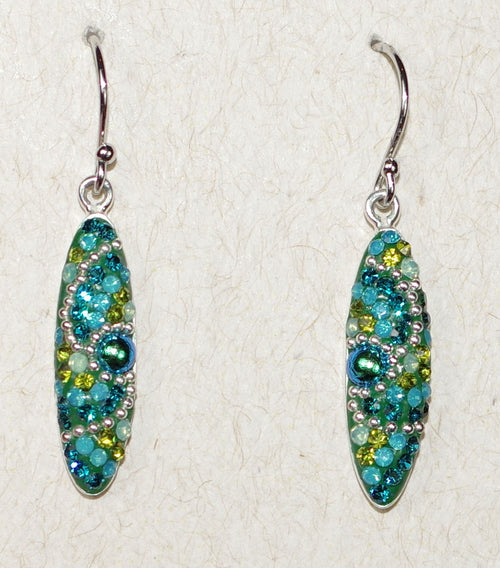 "MOSAICO EARRINGS PE-8318-E: multi color Austrians crystals in 3/4"" solid silver setting, french wire backs"