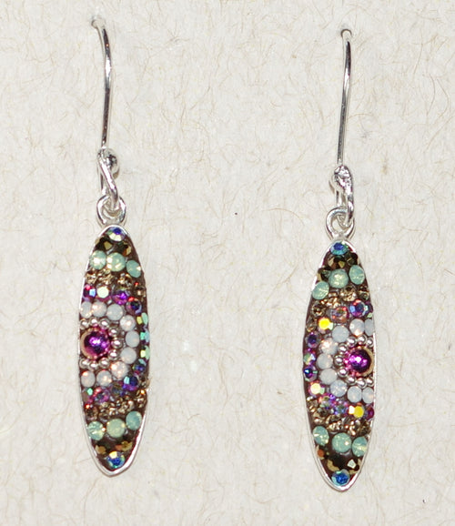 "MOSAICO EARRINGS PE-8318-J: multi color Austrians crystals in 3/4"" solid silver setting, french wire backs"