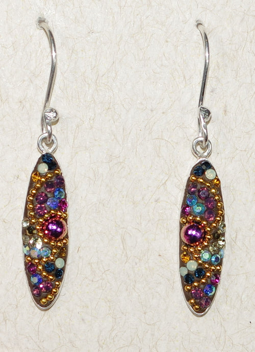 "MOSAICO EARRINGS PE-8318-K: multi color Austrians crystals in 3/4"" solid silver setting, french wire backs"