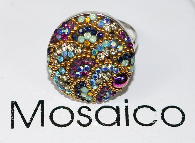 "MOSAICO RING PR-8600-K: multi color Austrian crystals in 1"" solid silver adjustable setting"