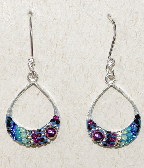 "MOSAICO EARRINGS PE-8325-A: multi color Austrians crystals in 3/4"" solid silver setting, french wire backs"