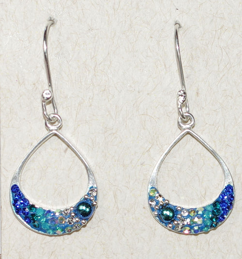 "MOSAICO EARRINGS PE-8325-D: multi color Austrians crystals in 3/4"" solid silver setting, french wire backs"