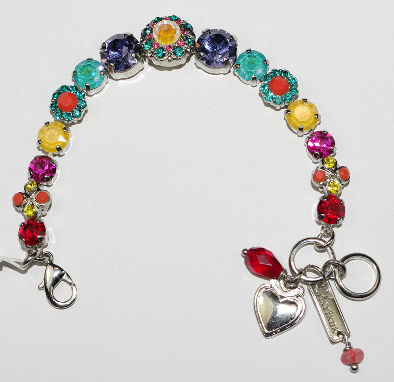 MARIANA BRACELET POPPY: yellow, blue, oraange, pink stones in rhodium setting
