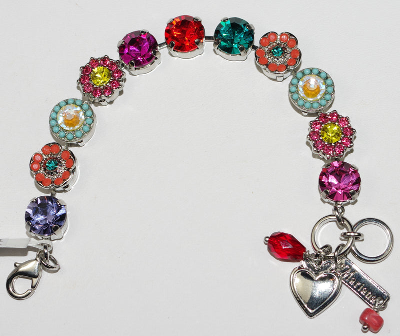 MARIANA BRACELET POPPY: orange, pink, yellow, blue stones in rhodium setting