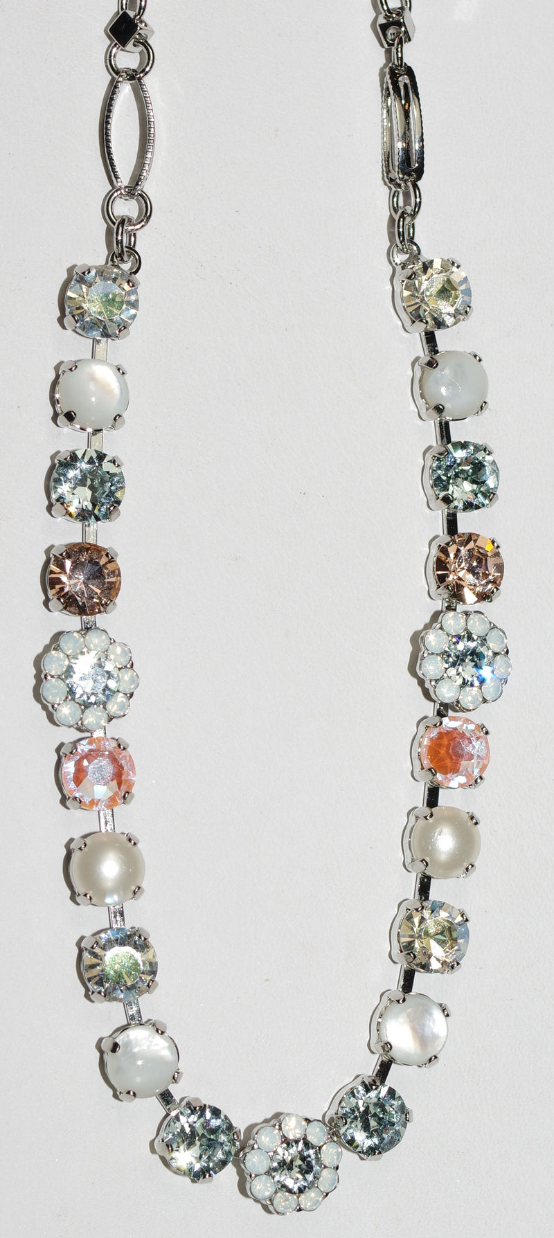 "MARIANA NECKLACE SWEET PEA: amber, blue, clear, white stones in rhodium setting, 18"" adjustable chain"