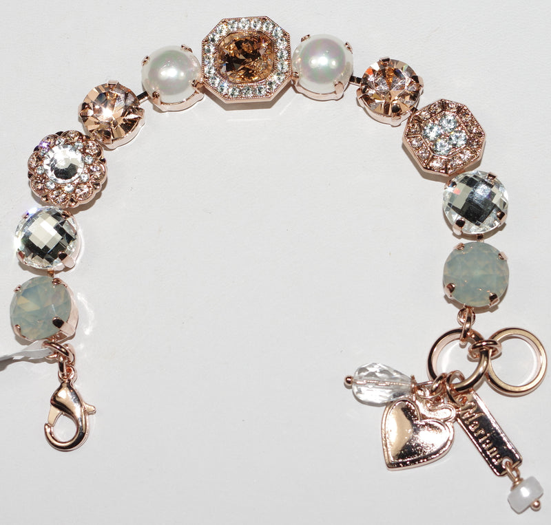 MARIANA BRACELET SWEET PEA: amber, blue, pearl, gray stones in rose gold setting