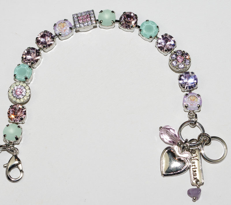 MARIANA BRACELET LAVENDER: lavender, pacific opal, pink stones in rhodium setting