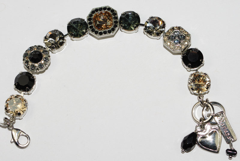 MARIANA BRACELET BLACK ORCHID: black, gray, amber stones in rhodium setting
