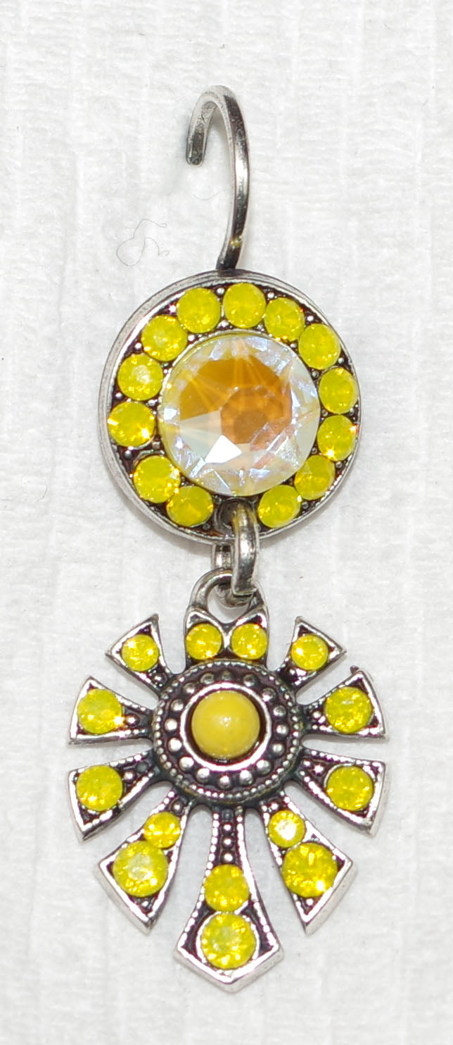 "MARIANA EARRINGS DUNAWAY YELLOW SUN KISSED: yellow, ultra stones in 1.25 "" silver setting, lever back"
