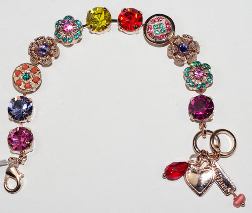 MARIANA  BRACELET POPPY: pink, yellow, blue, orange stones in rose gold setting