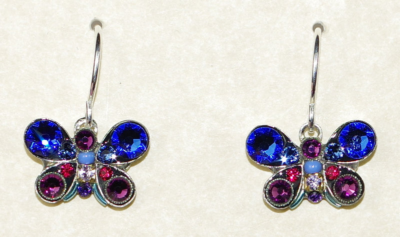 "FIREFLY EARRINGS BUTTERFLY PETITE SAPPHIRE: multi color stones in 1/2 "" silver setting, wire backs"