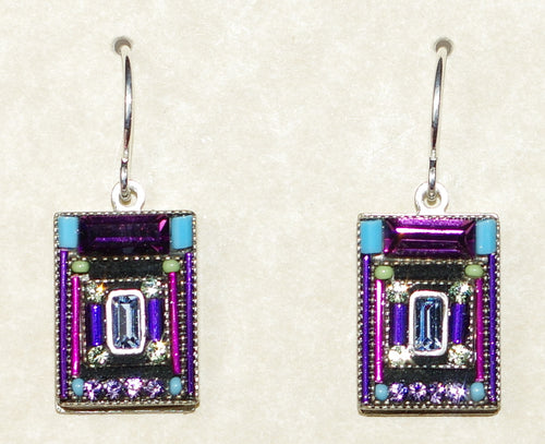 "FIREFLY EARRINGS ARCHITECTURAL AMETHYST: multi color stones in 1/2"" silver setting, wire backs"