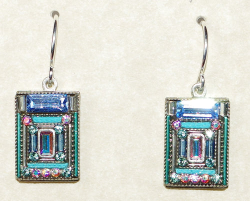 "FIREFLY EARRINGS ARCHITECTURAL ICE: multi color stones in 1/2"" silver setting, wire backs"