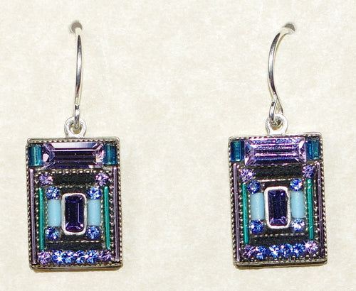 "FIREFLY EARRINGS ARCHITECTURAL LAVENDER: multi color stones in 1/2"" silver setting, wire backs"
