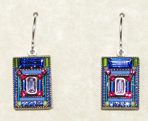 "FIREFLY EARRINGS ARCHETECTURAL SAPPHIRE: multi color stones in 1/2"" silver setting, wire backs"