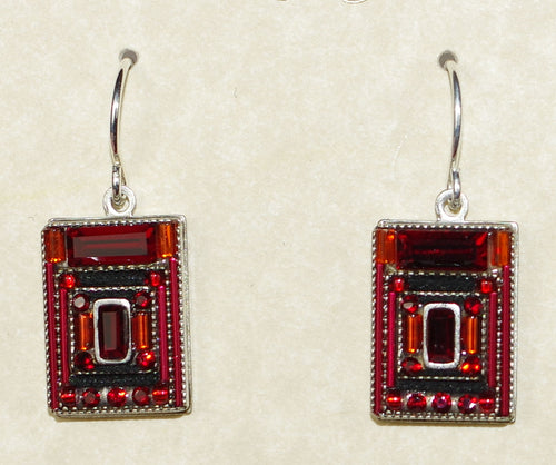 "FIREFLY EARRINGS ARCHETECTURAL RED: red stones in 1/2"" silver setting, wire backs"
