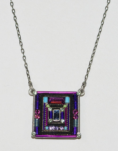 "FIREFLY NECKLACE ARCHITECTURAL SQUARE AMETHYST: multi color stones in 3/4"" pendant, silver 17"" adjustable chain"