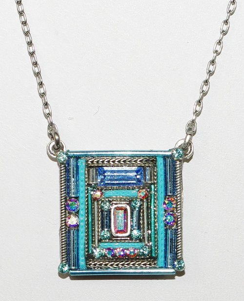 "FIREFLY NECKLACE ARCHITECTURAL SQUARE ICE: multi color stones in 3/4"" pendant, silver 17"" adjustable chain"