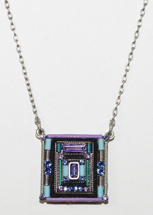 "FIREFLY NECKLACE ARCHITECTURAL SQUARE LAVENDER: multi color stones in 3/4"" pendant, silver 17"" adjustable chain"