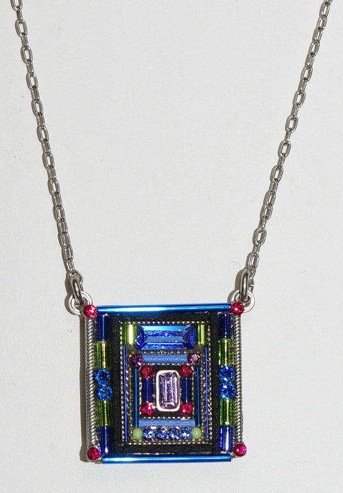 "FIREFLY NECKLACE ARCHITECTURAL SQUARE SAPPHIRE: multi color stones in 3/4"" pendant, silver 17"" adjustable chain"