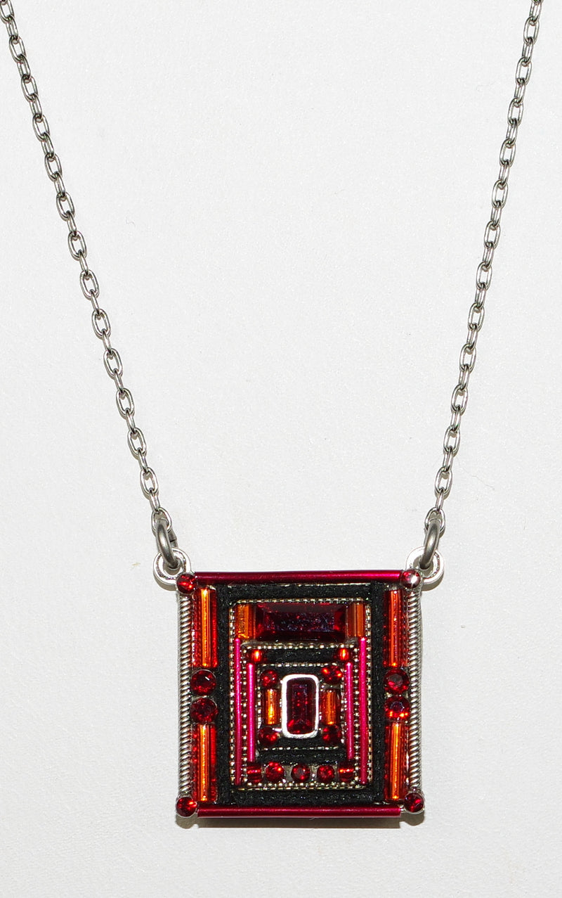 "FIREFLY NECKLACE ARCHITECTURAL SQUARE RED: red stones in 3/4"" pendant, silver 17"" adjustable chain"