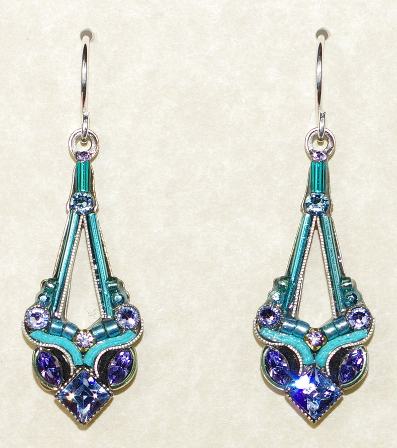 "FIREFLY EARRINGS PARISIAN DROP AQUA: multi stones in 1.25"" silver setting, wire backs"