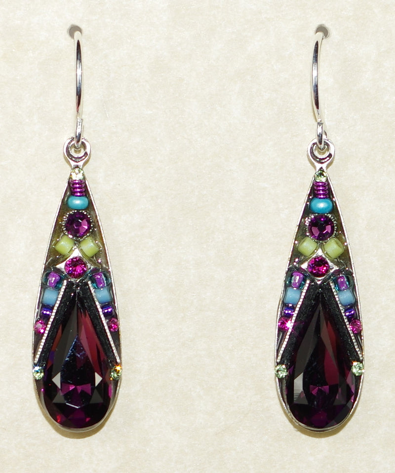 "FIREFLY EARRINGS CAMELLIA LARGE DROP-AMETHYST: multi stones in 1"" silver setting, wire backs"