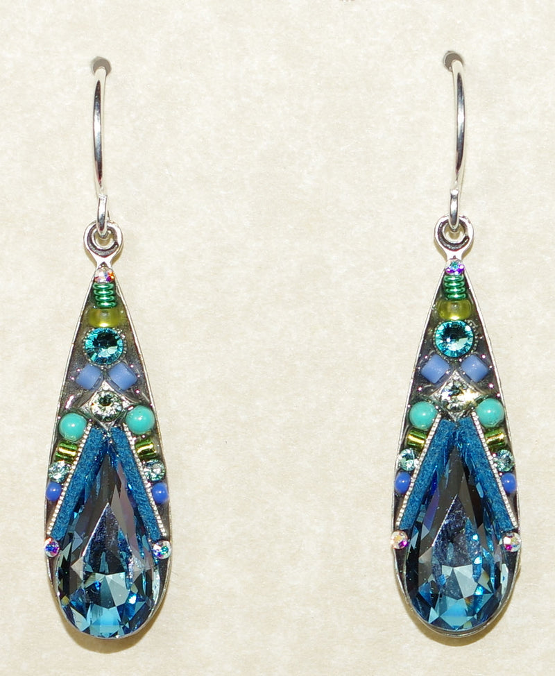 "FIREFLY EARRINGS CAMELIA LARGE DROP AQUA: multi color stones in 1"" silver setting, wire backs"