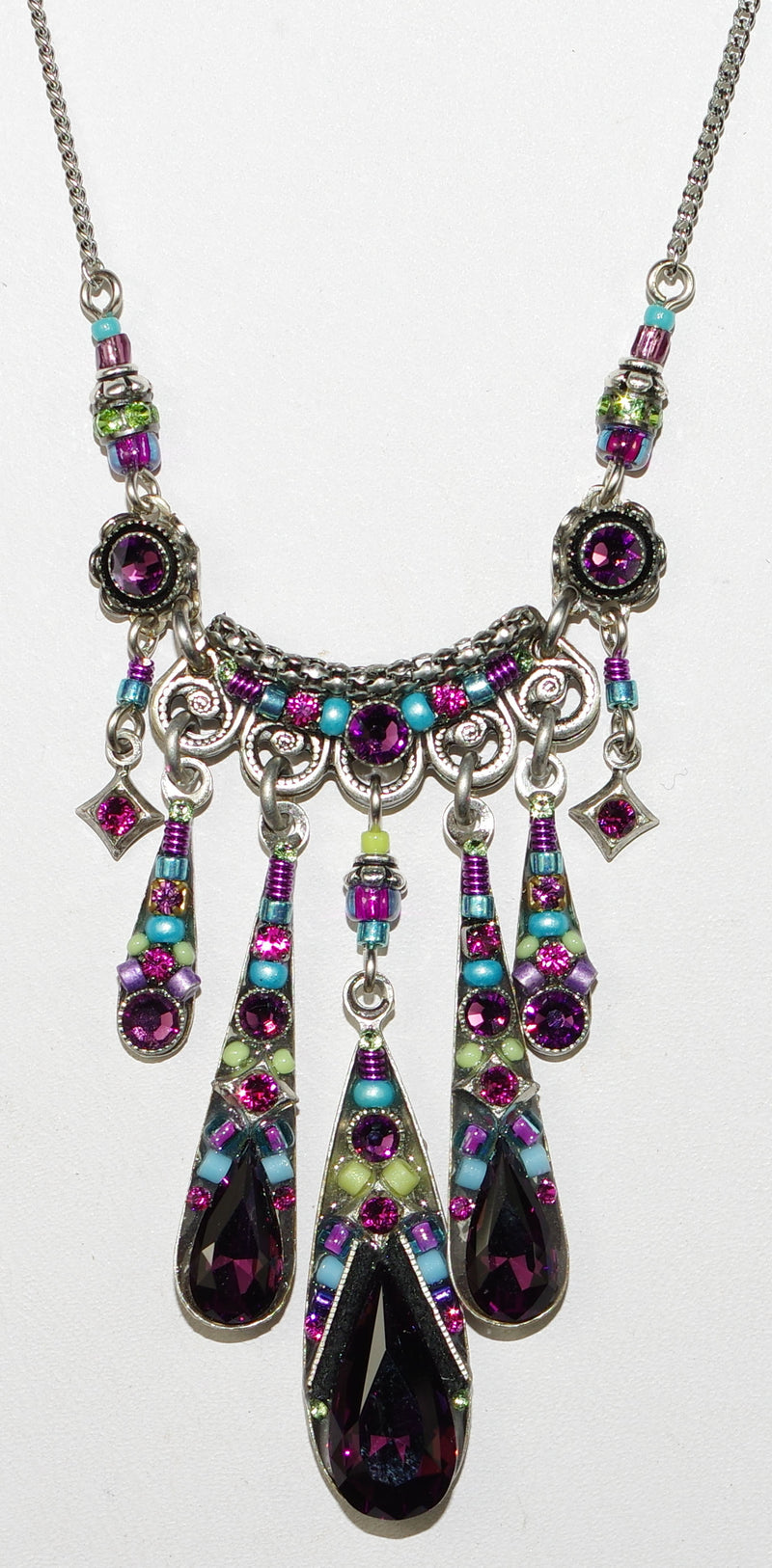 "FIREFLY NECKLACE CAMELLIA AMETHYST: multi color stones, center pendant = 1"", in silver 17"" adjustable chain"