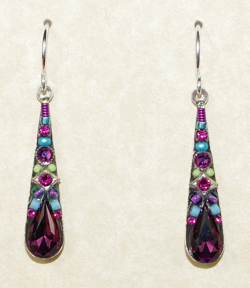"FIREFLY EARRINGS CAMELLIA MEDIUM AMETHYST: multi color stones in 1"" silver setting, wire backs"