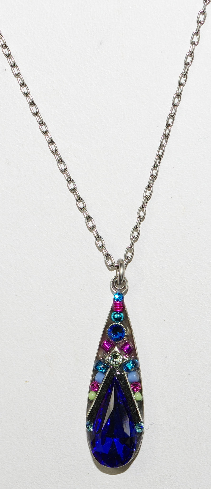 "FIREFLY NECKLACE CAMELLIA ROYAL BLUE: multi color stones in 1"" silver setting, 17"" adjustable chain"
