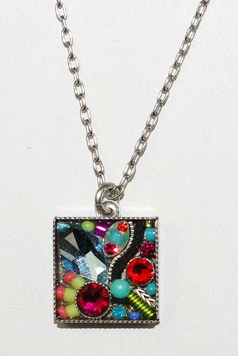 "FIREFLY NECKLACE LA DOLCE VITA MC: multi color stones in silver 17"" adjustable chain"