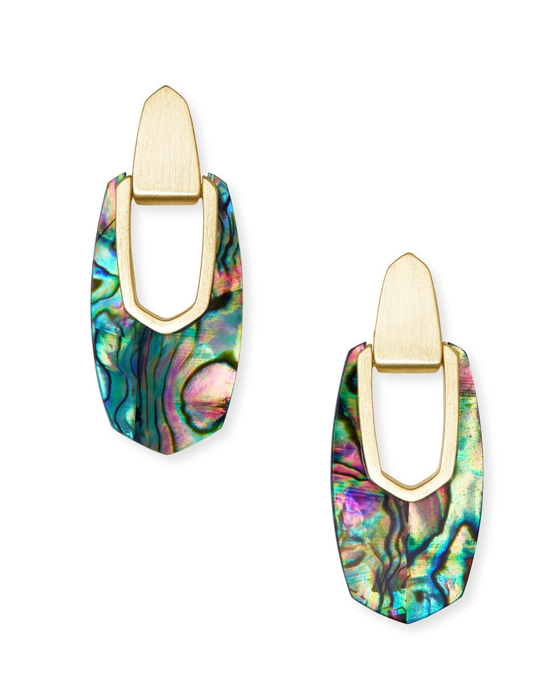 KENDRA SCOTT EARRINGS KAILYN DROP GOLD ABALONE SHELL