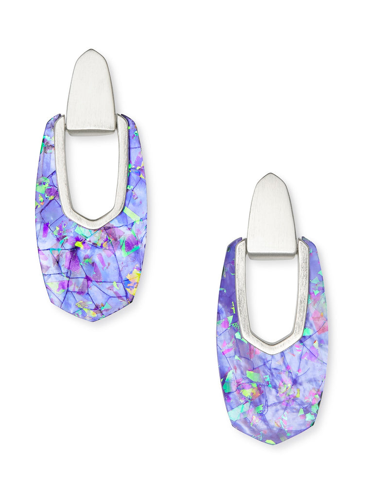 KENDRA SCOTT EARRINGS KAILYN DROP RHODIUM IRIDESCENT LILAC ILLUSION