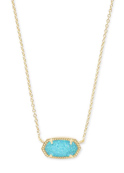 KENDRA SCOTT NECKLACE ELISA GOLD BRIGHT AQUA DRUSY