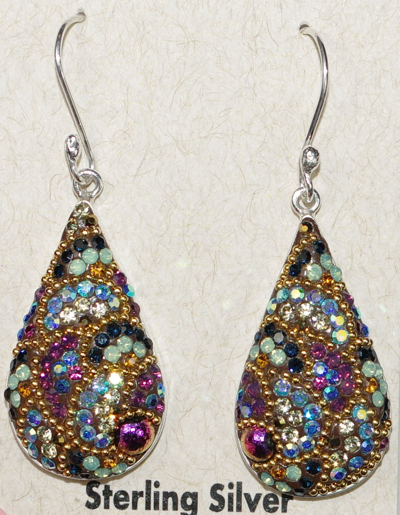 "MOSAICO EARRINGS PE-8151-K: multi color Austrians crystals in 1"" solid silver setting, french wire backs"