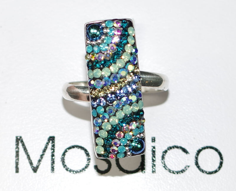 "MOSAICO RING PR-8606-I: multi color Austrian crystals in 1"" solid silver adjustable setting"