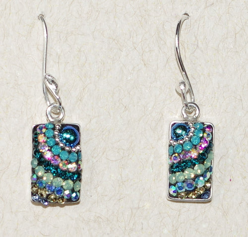 "MOSAICO EARRINGS PE-8116-I: multi color Austrians crystals in 1/2"" solid silver setting, french wire backs"