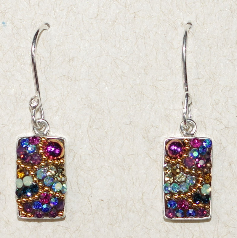 "MOSAICO EARRINGS PE-8116-K: multi color Austrians crystals in 1/2"" solid silver setting, french wire backs"