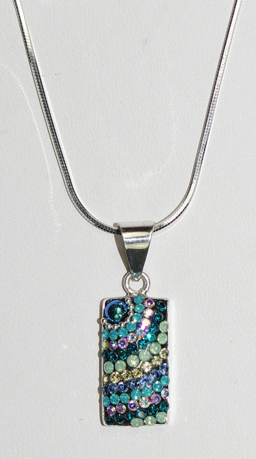 "MOSAICO PENDANT PP-8548-I: multi color Austrian crystals in 3/4"" solid silver pendant, 18-20 inch adjustable silver chain"