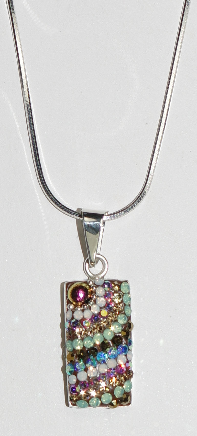 "MOSAICO PENDANT PP-8548-J: multi color Austrian crystals in 3/4"" solid silver pendant, 18-20 inch adjustable silver chain"