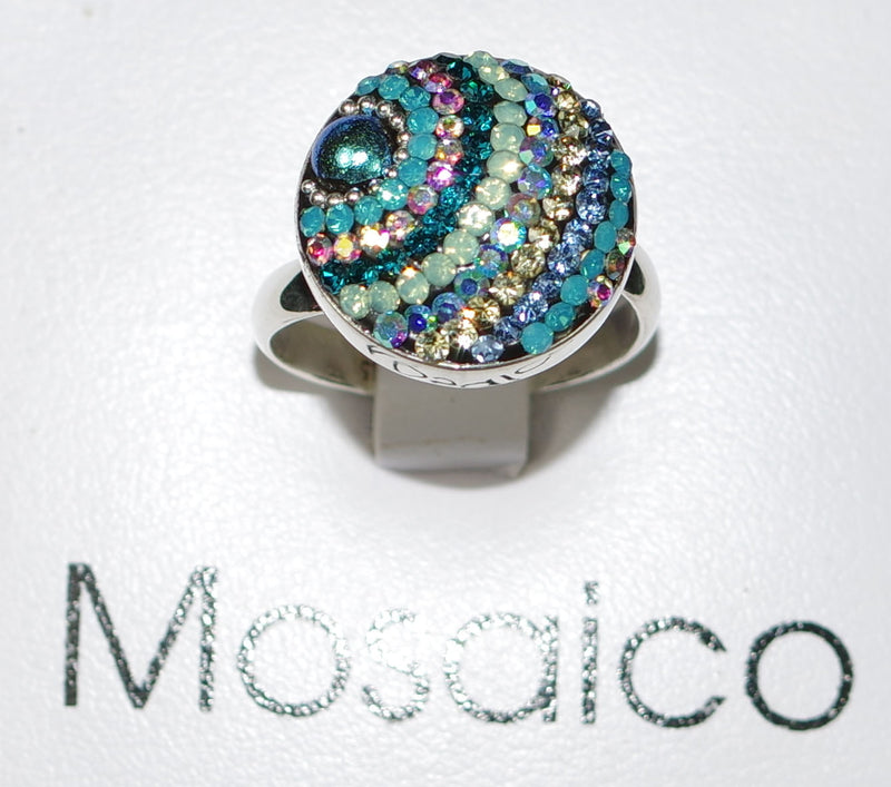 "MOSAICO RING PR-8608-I: multi color Austrian crystals in 3/4"" solid silver adjustable setting"