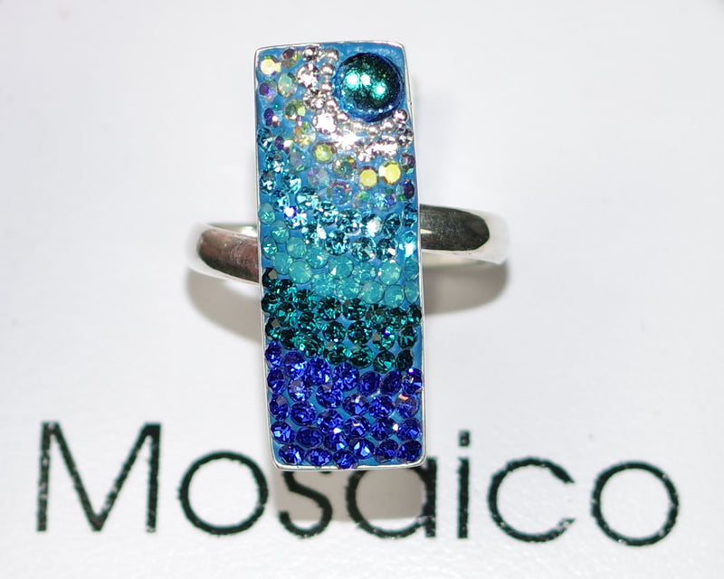 "MOSAICO RING PR-8606-D: multi color Austrian crystals in 1"" solid silver adjustable setting"