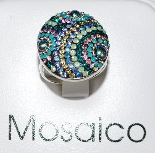 "MOSAICO RING PR-8600-I: multi color Austrian crystals in 1"" solid silver adjustable setting"