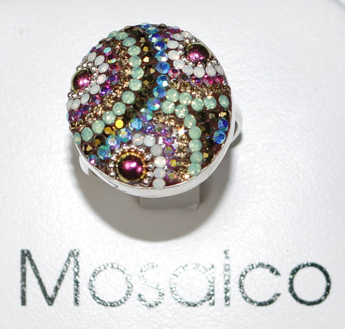 "MOSAICO RING PR-8600-J: multi color Austrian crystals in 1"" solid silver adjustable setting"