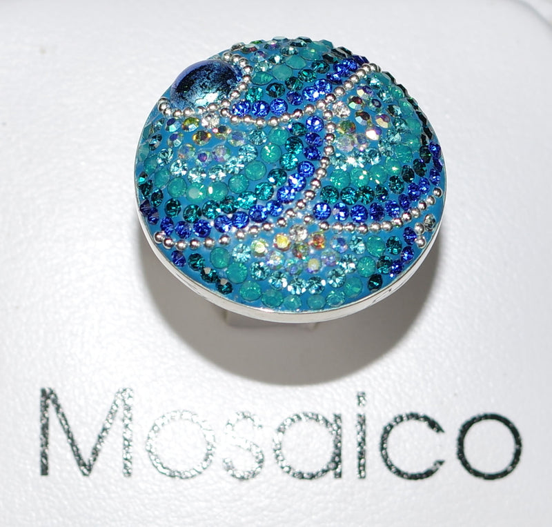 "MOSAICO RING PR-8614-C: multi color Austrian crystals in 1.25"" solid silver adjustable setting"