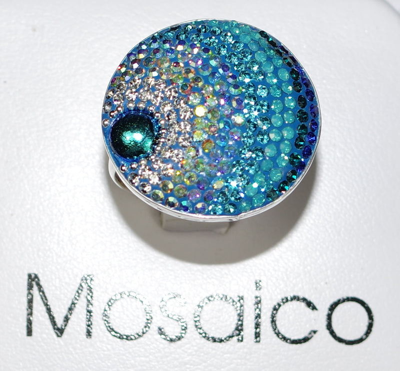 "MOSAICO RING PR-8614-D: multi color Austrian crystals in 1.25"" solid silver adjustable setting"