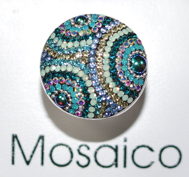 "MOSAICO RING PR-8614-I: multi color Austrian crystals in 1.25"" solid silver adjustable setting"