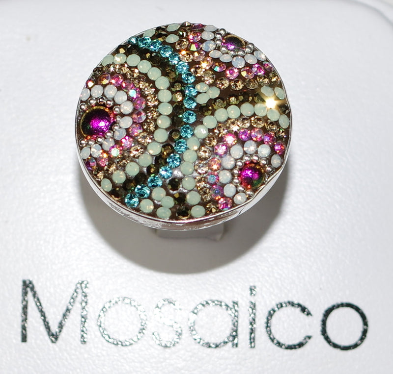 "MOSAICO RING PR-8614-J: multi color Austrian crystals in 1.25"" solid silver adjustable setting"